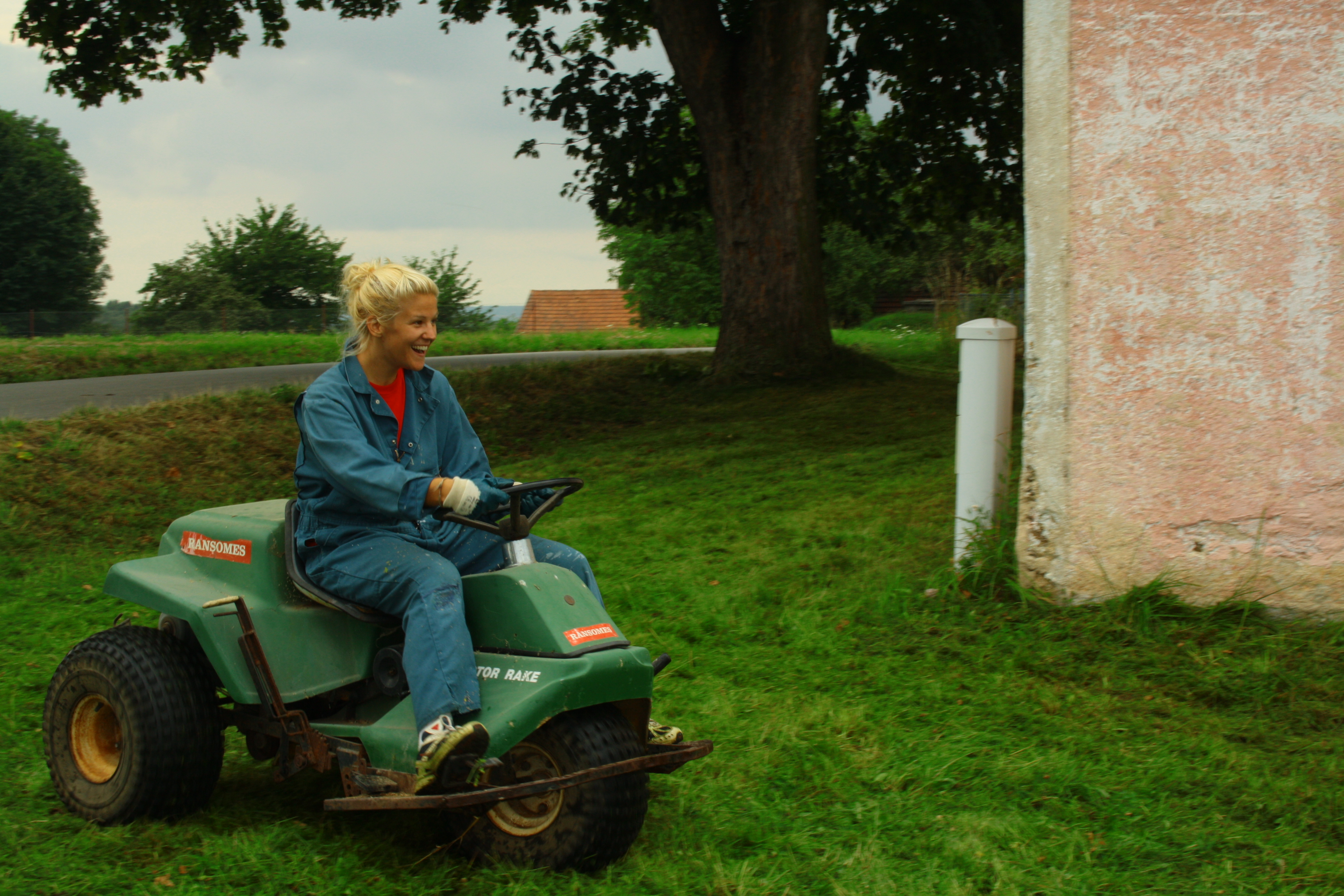 Mowing the lawn in Bechyne